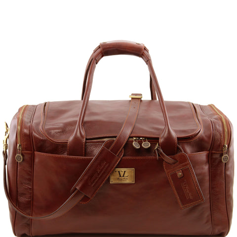 Tuscany Leather 'TL Voyager' Travel Leather Duffle Bag - Large (TL141281) Duffle Bag Tuscany Leather Brown