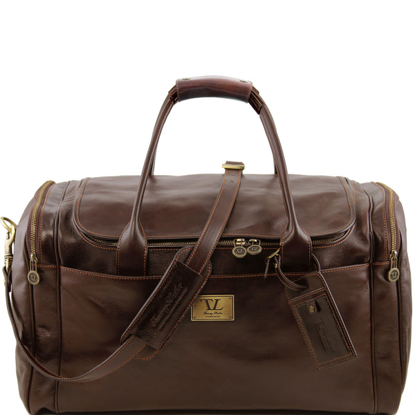 Tuscany Leather 'TL Voyager' Travel Leather Duffle Bag - Large (TL141281) Duffle Bag Tuscany Leather Dark Brown