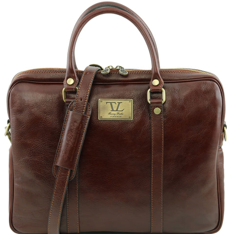 Tuscany Leather 1st Class Exclusive 'Prato' Leather Laptop Carry Briefcase Laptop Briefcase Tuscany Leather Brown