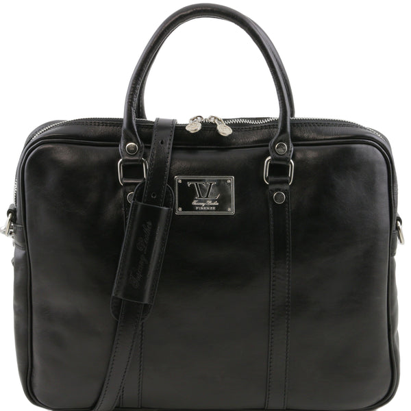 Tuscany Leather 1st Class Exclusive 'Prato' Leather Laptop Carry Briefcase Laptop Briefcase Tuscany Leather Black