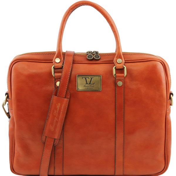 Tuscany Leather 1st Class Exclusive 'Prato' Leather Laptop Carry Briefcase Laptop Briefcase Tuscany Leather Honey