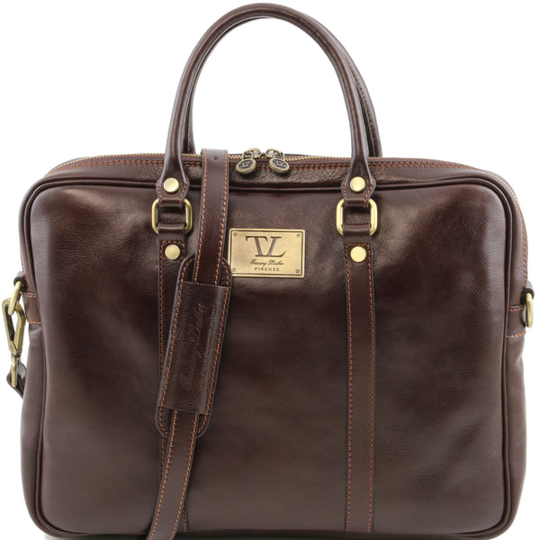 Tuscany Leather 1st Class Exclusive 'Prato' Leather Laptop Carry Briefcase Laptop Briefcase Tuscany Leather Dark Brown