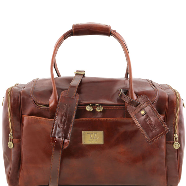 Tuscany Leather 'TL Voyager' Travel Leather Duffle Bag - Medium (TL141296) Duffle Bag Tuscany Leather Brown