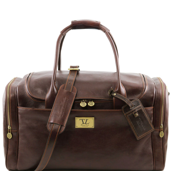 Tuscany Leather 'TL Voyager' Travel Leather Duffle Bag - Medium (TL141296) Duffle Bag Tuscany Leather Dark Brown