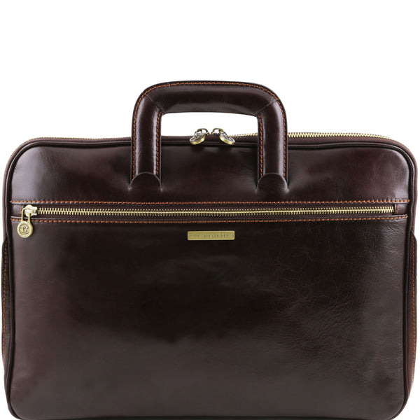 Tuscany Leather 'The Caserta' Leather Document Briefcase Laptop Briefcase Tuscany Leather Dark Brown