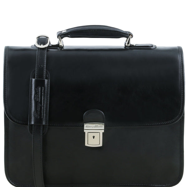 Tuscany Leather 1st Class 'Vernazza' Leather Laptop 3 Compartment Briefcase Laptop Briefcase Tuscany Leather Black