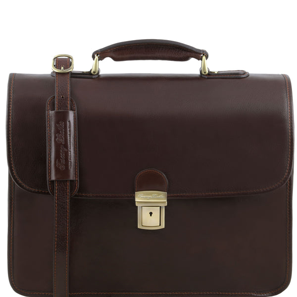 Tuscany Leather 1st Class 'Vernazza' Leather Laptop 3 Compartment Briefcase Laptop Briefcase Tuscany Leather Dark Brown