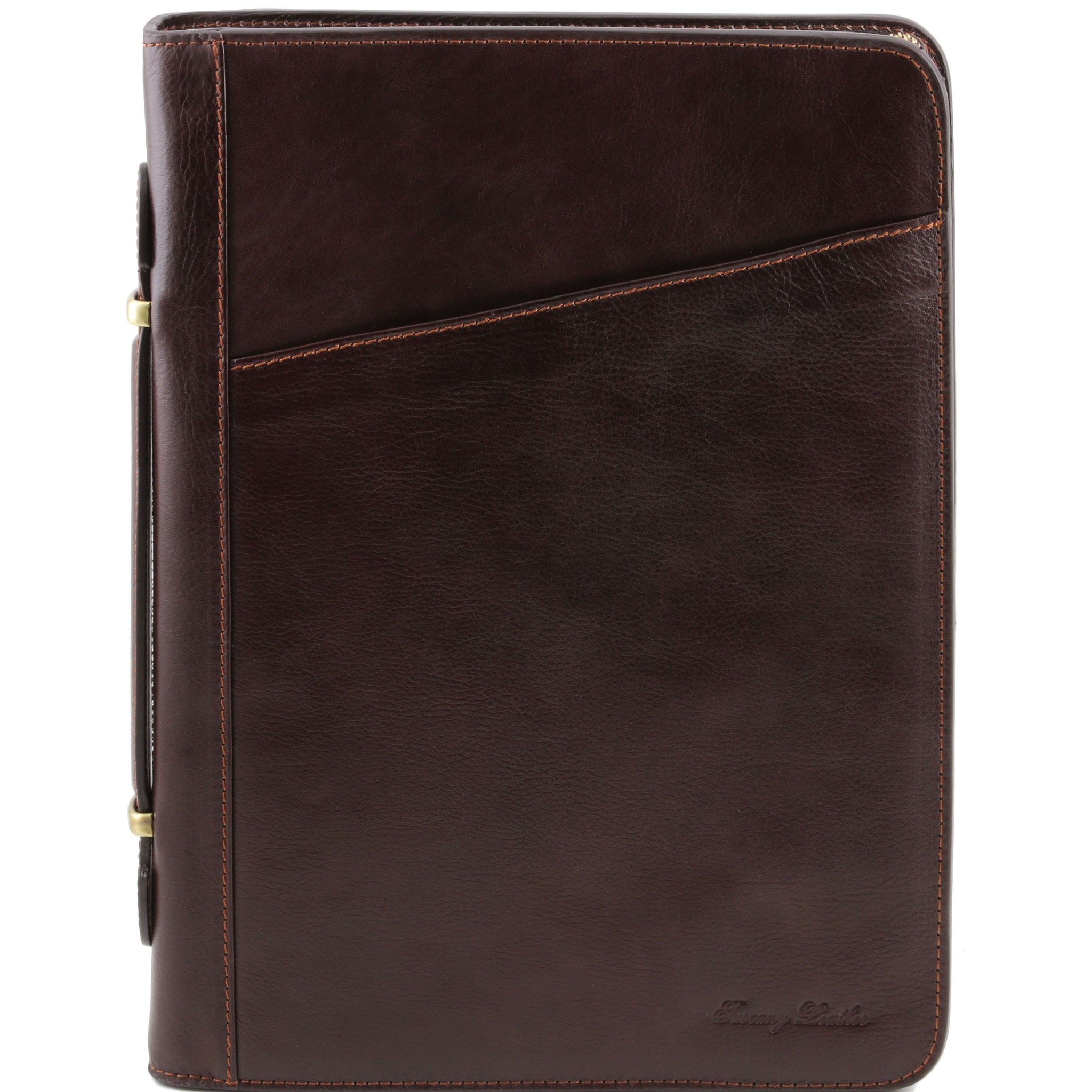 Tuscany Leather 1st Class 'Claudio' Exclusive Leather Portfolio Document Case With Handle Leather Document/Portfolio Case Tuscany Leather Dark Brown