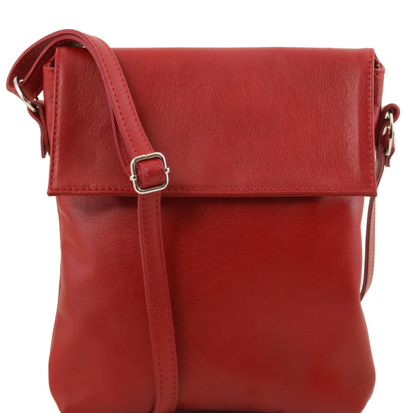 Tuscany Leather Classic 'Morgan' Men's Leather Messenger Crossover Bag Messenger Bag Tuscany Leather Red