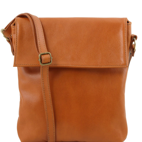 Tuscany Leather Classic 'Morgan' Men's Leather Messenger Crossover Bag Messenger Bag Tuscany Leather Cognac