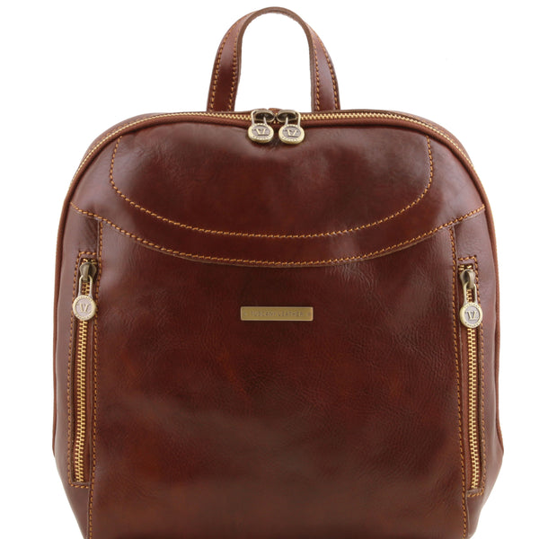 Tuscany Leather 'Manila' Leather Backpack Backpack Tuscany Leather Brown