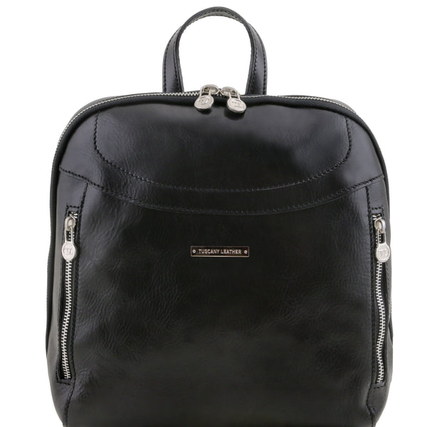 Tuscany Leather 'Manila' Leather Backpack Backpack Tuscany Leather Black