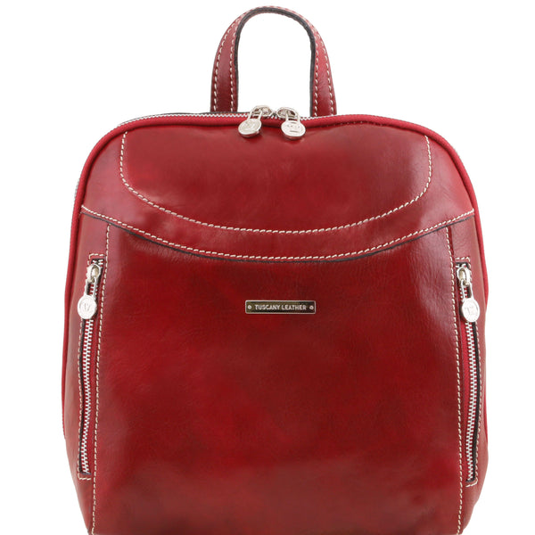 Tuscany Leather 'Manila' Leather Backpack Backpack Tuscany Leather Red