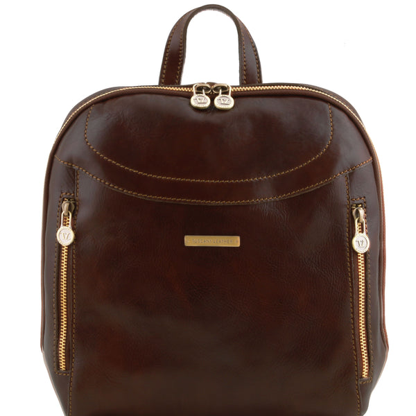 Tuscany Leather 'Manila' Leather Backpack Backpack Tuscany Leather Dark Brown