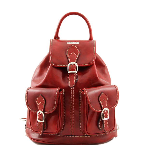 Tuscany Leather 'Tokyo' Leather Backpack Backpack Tuscany Leather Red