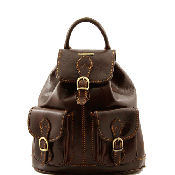 Tuscany Leather 'Tokyo' Leather Backpack Backpack Tuscany Leather Dark Brown