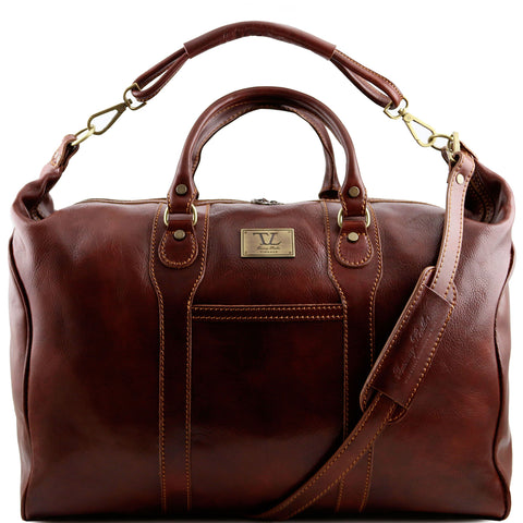 Tuscany Leather Traveller 'The Amsterdam' Leather Weekend Duffle Bag Duffle Bag Tuscany Leather Brown