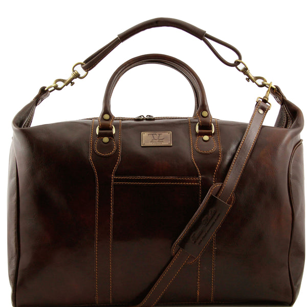 Tuscany Leather Traveller 'The Amsterdam' Leather Weekend Duffle Bag Duffle Bag Tuscany Leather Dark Brown