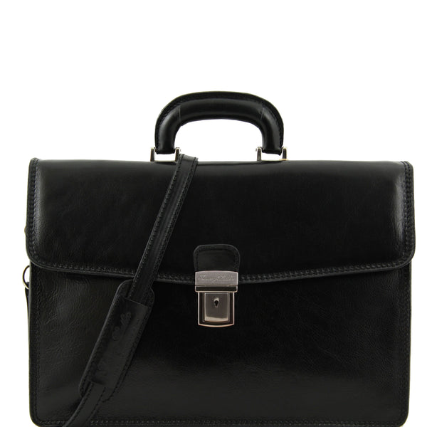 Tuscany Leather Classic 'Amalfi' Leather 1 Compartment Briefcase Laptop Briefcase Tuscany Leather Black
