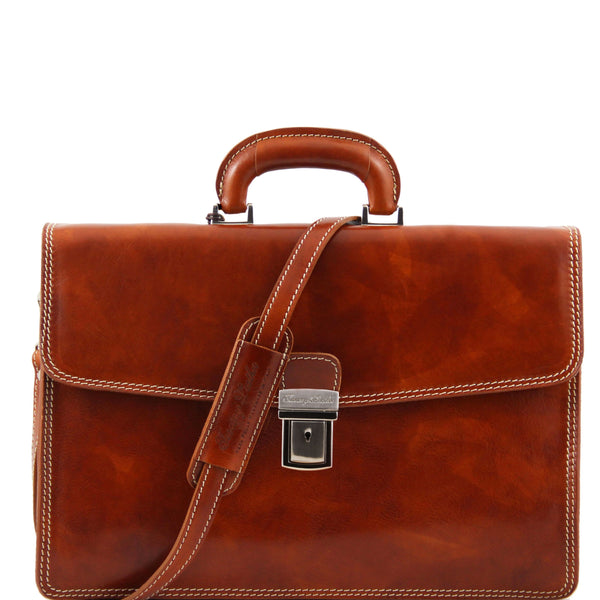 Tuscany Leather Classic 'Amalfi' Leather 1 Compartment Briefcase Laptop Briefcase Tuscany Leather Honey