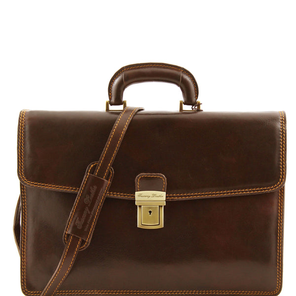 Tuscany Leather Classic 'Amalfi' Leather 1 Compartment Briefcase Laptop Briefcase Tuscany Leather Dark Brown