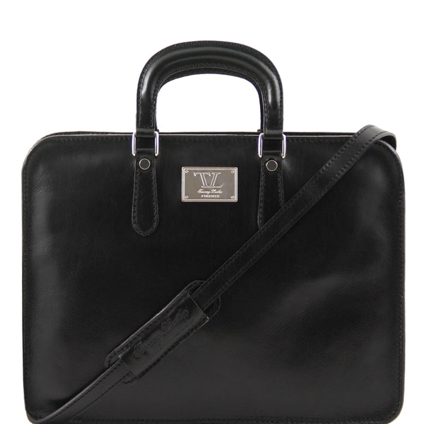 Tuscany Leather Classic 'Alba' Leather Laptop Briefcase Laptop Briefcase Tuscany Leather Black