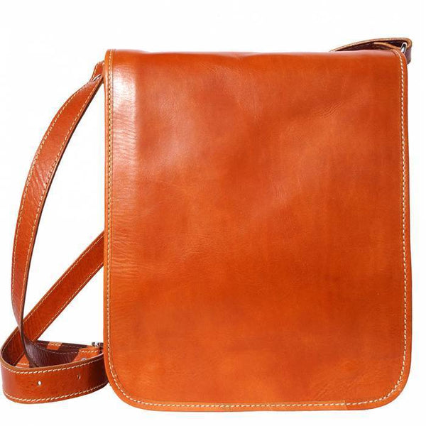 Made In Tuscany 'Mirko Mm' Leather Messenger Shoulder Bag Messenger Bag Made in Tuscany Tan