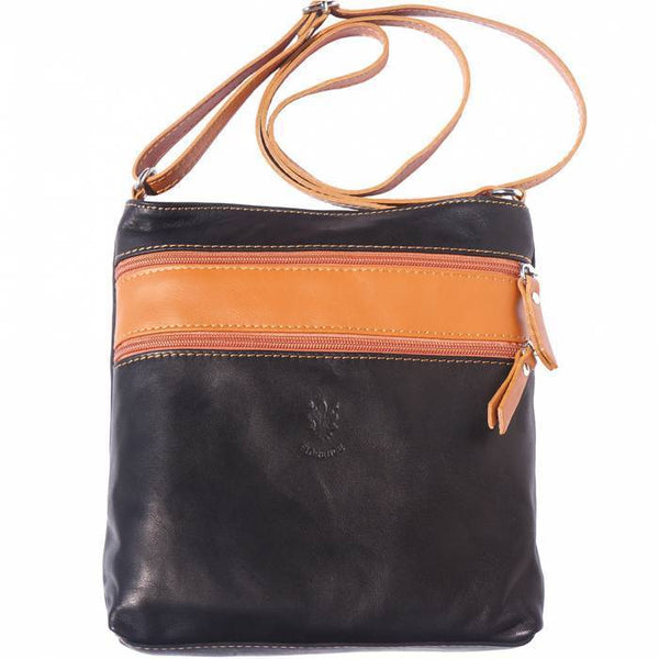 "Made In Tuscany ""Chiara"" Leather Cross-Body Shoulder Bag Crossbody Bag Made in Tuscany Black/Tan"