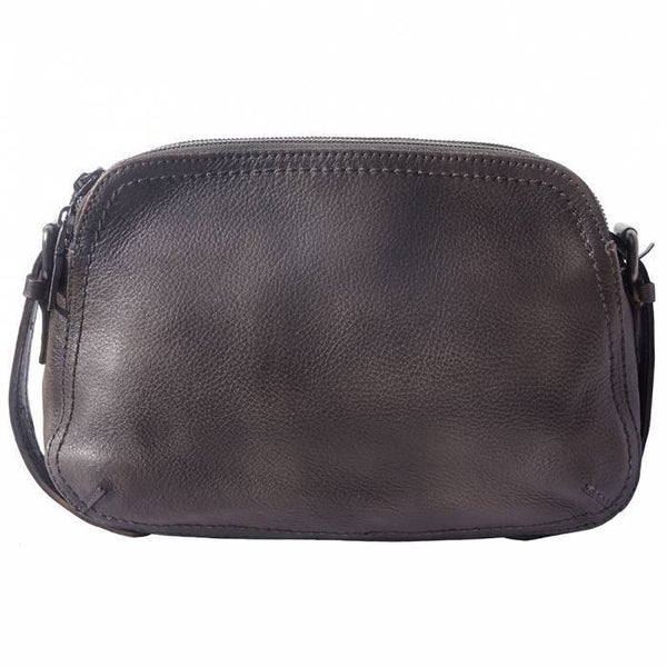 Made In Tuscany 'Twice' Leather Cross-Body Bag Crossbody Bag Made in Tuscany Ebony