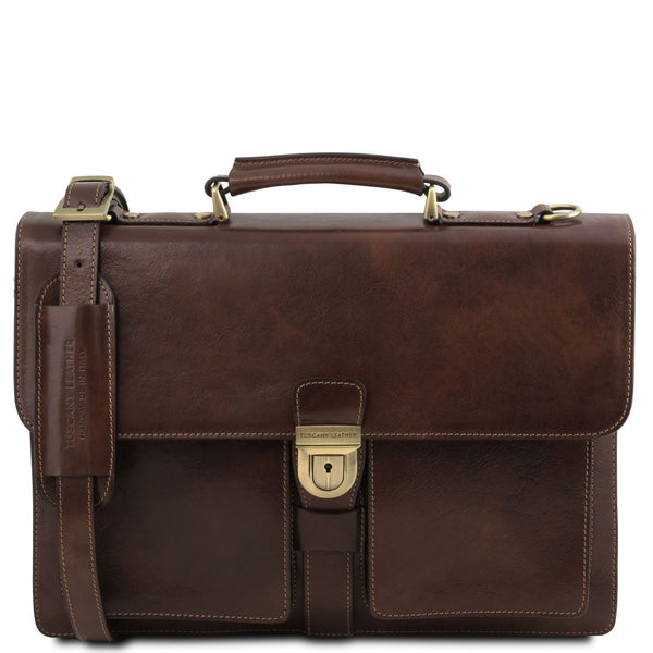 Tuscany Leather 'Assisi' 3 Compartments Leather Briefcase Briefcase Tuscany Leather Dark Brown