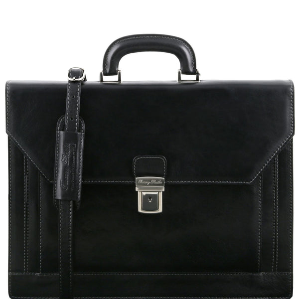 Tuscany Leather 'Napoli' 2 Compartments Leather Briefcase With Front Pocket Briefcase Tuscany Leather Black