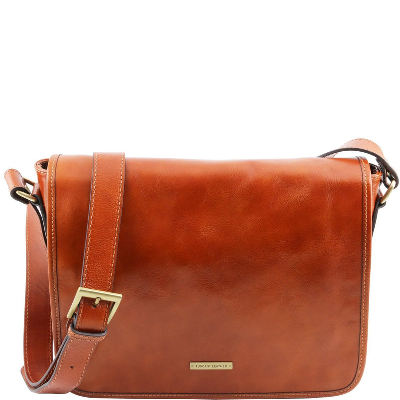 Tuscany Leather 'TL Messenger' One Compartment Leather Shoulder Bag - Medium Size Messenger Bag Tuscany Leather Honey