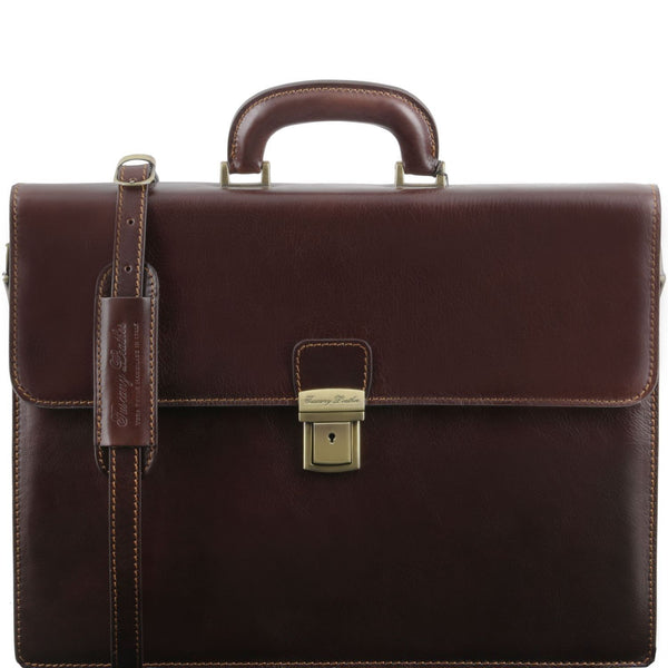 Tuscany Leather 'Parma' Leather Briefcase 2 Compartments Briefcase Tuscany Leather Dark Brown