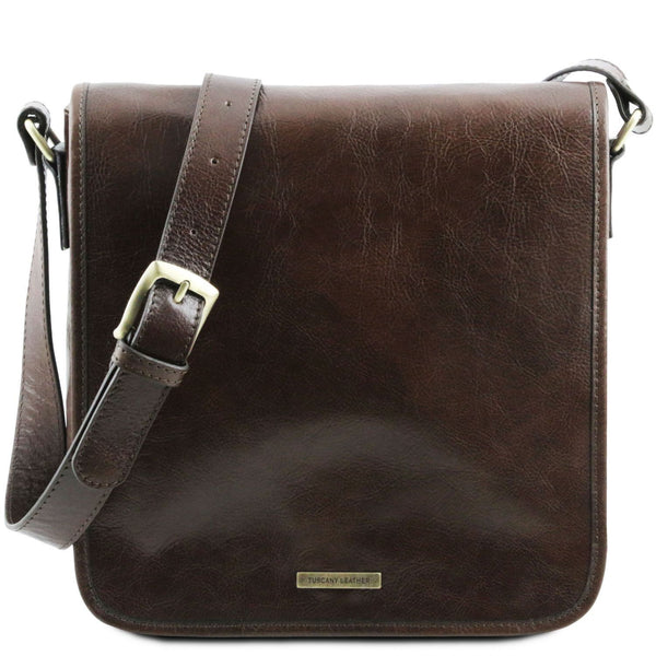 Tuscany Leather 'TL Messenger' One Compartment Leather Shoulder Bag Messenger Bag Tuscany Leather Dark Brown