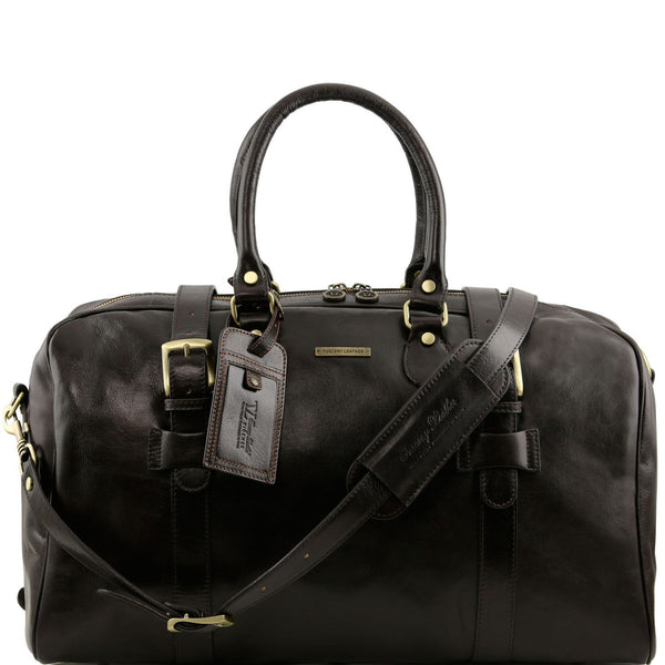 Tuscany Leather Travel Bag With Front Straps 'TL Voyager' - Large Size Duffle Bag Tuscany Leather Dark Brown
