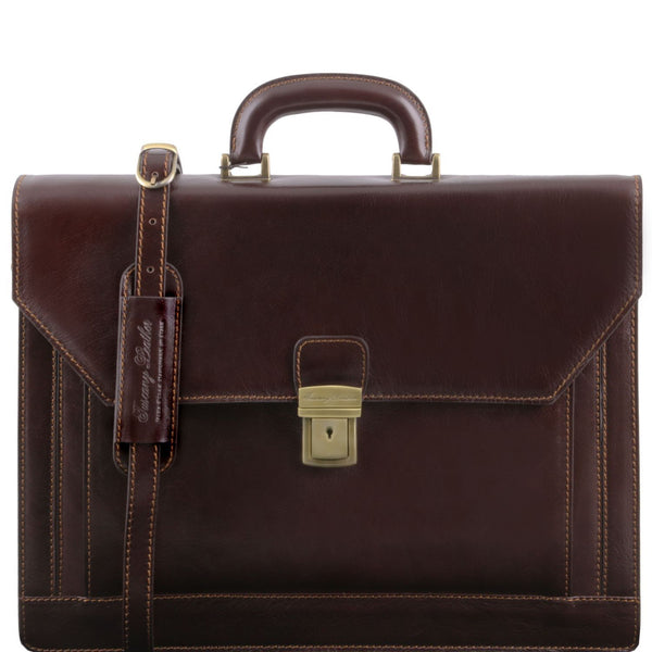 Tuscany Leather 'Napoli' 2 Compartments Leather Briefcase With Front Pocket Briefcase Tuscany Leather Dark Brown