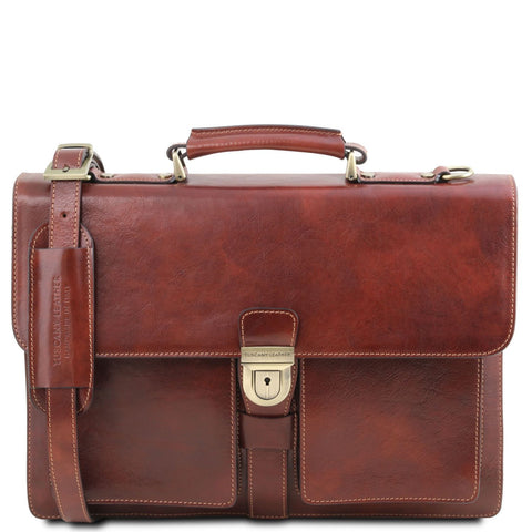 Tuscany Leather 'Assisi' 3 Compartments Leather Briefcase Briefcase Tuscany Leather Brown