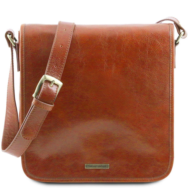 Tuscany Leather 'TL Messenger' One Compartment Leather Shoulder Bag Messenger Bag Tuscany Leather Honey