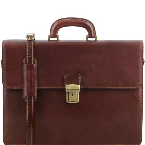 Tuscany Leather 'Parma' Leather Briefcase 2 Compartments Briefcase Tuscany Leather Brown