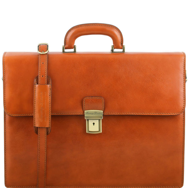 Tuscany Leather 'Parma' Leather Briefcase 2 Compartments Briefcase Tuscany Leather Honey