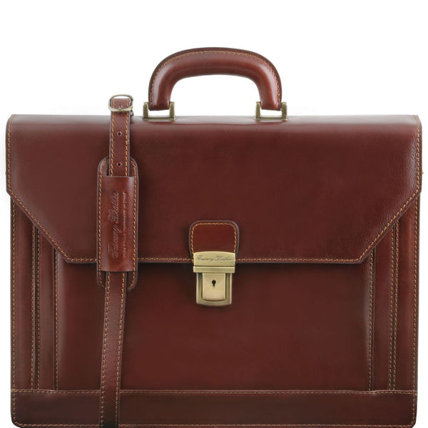Tuscany Leather 'Napoli' 2 Compartments Leather Briefcase With Front Pocket Briefcase Tuscany Leather Brown