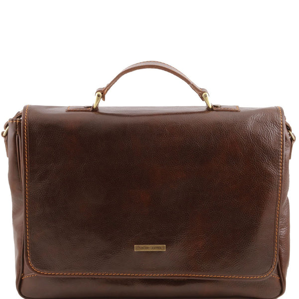 Tuscany Leather 'Padova' Exclusive Leather Laptop Case Laptop Briefcase Tuscany Leather Dark Brown