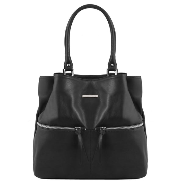 Tuscany Leather TL Bag Leather Shoulder Bag With Front Pockets Ladies Shoulder Bag Tuscany Leather Black