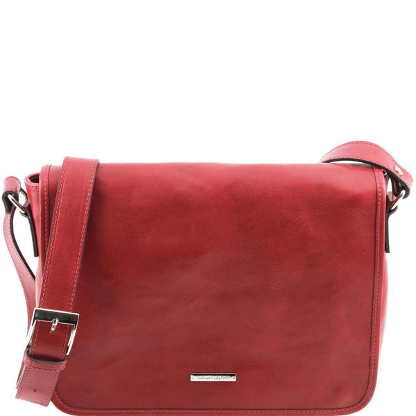 Tuscany Leather 'TL Messenger' One Compartment Leather Shoulder Bag - Medium Size Messenger Bag Tuscany Leather Red