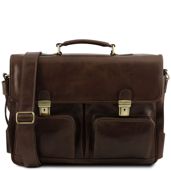 Tuscany Leather 'Ventimiglia' Leather Laptop Briefcase (Smart Module) Briefcase Tuscany Leather Dark Brown