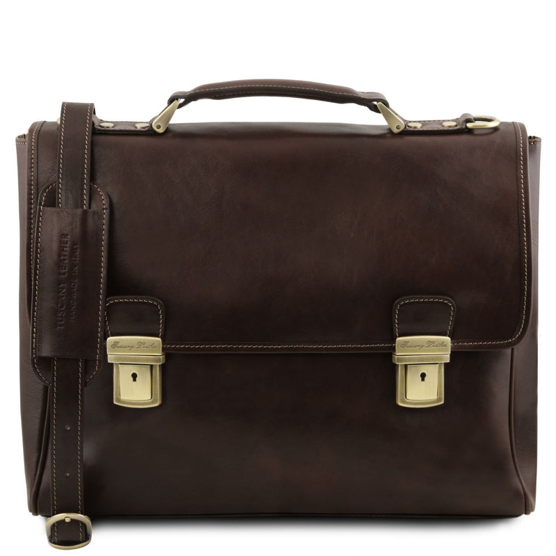 Tuscany Leather 'Trieste' Exclusive Leather Laptop Briefcase Case Laptop Briefcase Tuscany Leather Dark Brown