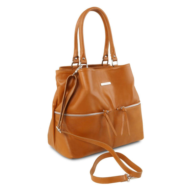Tuscany Leather TL Bag Leather Shoulder Bag With Front Pockets Ladies Shoulder Bag Tuscany Leather