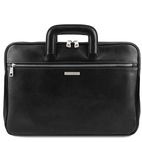 Tuscany Leather 'The Caserta' Leather Document Briefcase Laptop Briefcase Tuscany Leather Black