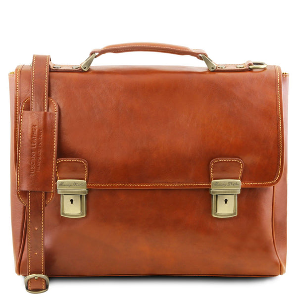 Tuscany Leather 'Trieste' Exclusive Leather Laptop Briefcase Case Laptop Briefcase Tuscany Leather Honey