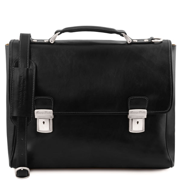 Tuscany Leather 'Trieste' Exclusive Leather Laptop Briefcase Case Laptop Briefcase Tuscany Leather Black